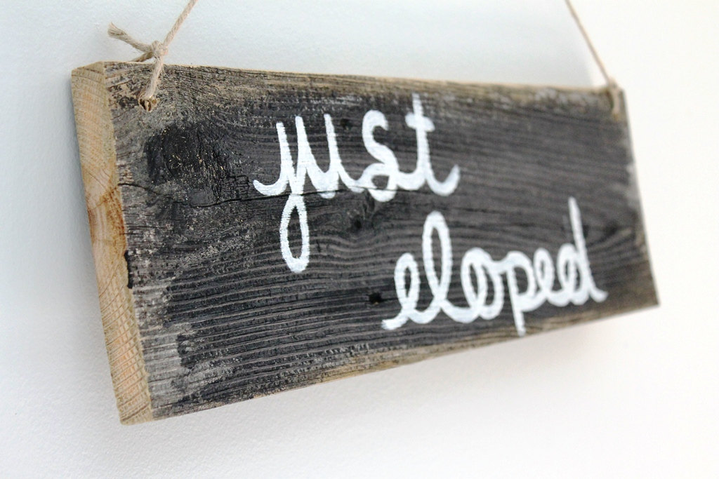 just eloped wood sign