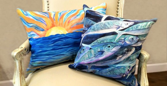 indoor or outdoor watercolor pillows