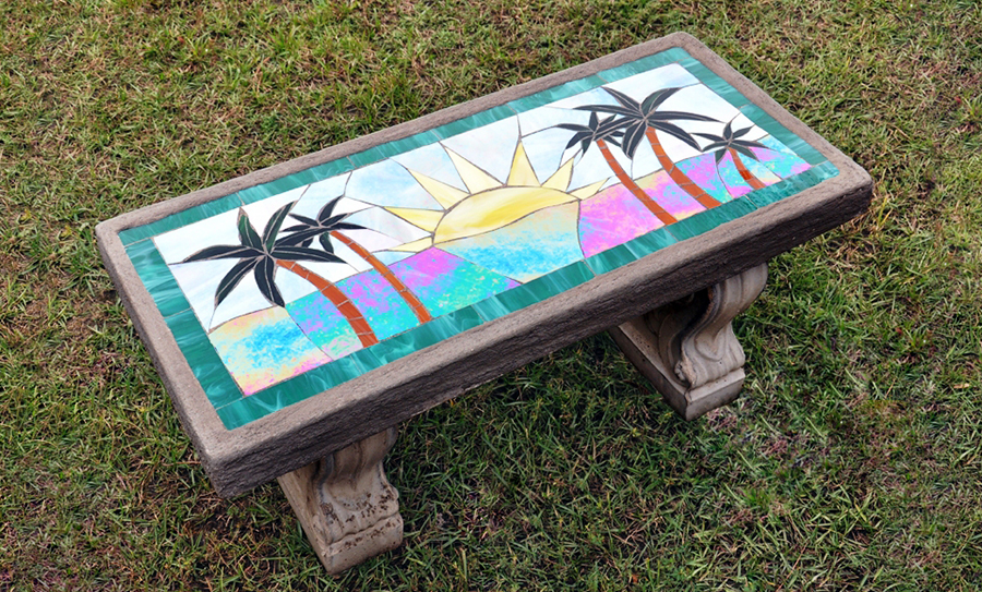 Floral Prism mosaic bench