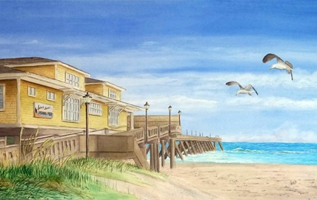 Johnny Mercer Pier by beachscape by A.M. Vivaldi Watercolors