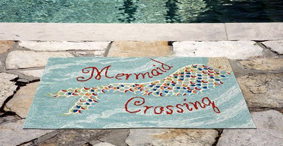 mermaid crossing throw rug