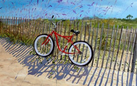 bike on the beach painting