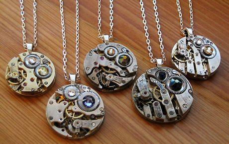 handcrafted watchwork necklaces