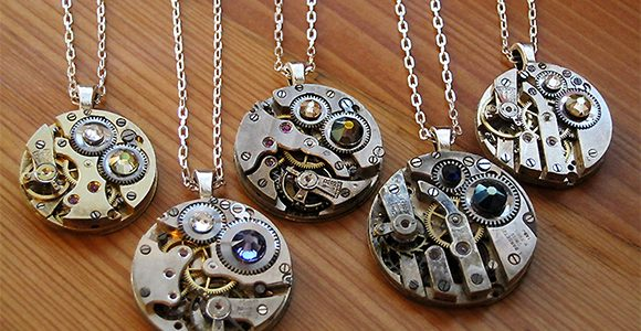 handcrafted watchwork necklaces