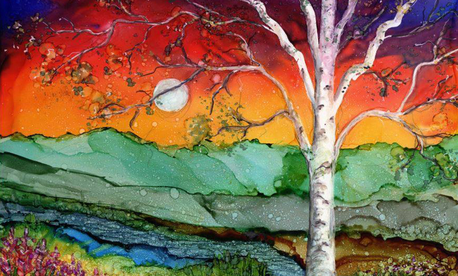 Birch Tree in Alcohol Ink